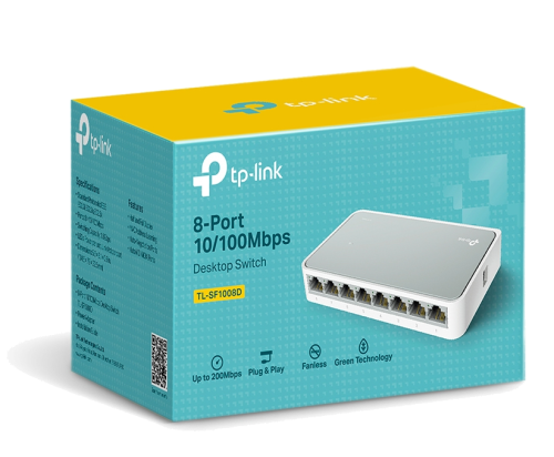 The TL-SF1008D Fast Ethernet Switch is designed for SOHO (Small Office/Home Office) or workgroup users.. All 8 ports support auto MDI/MDIX, no need to worry about the cable type.