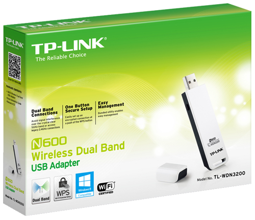 TP-LINK's TL-WDN3200 is an N600 Wireless Dual Band USB Adapter giving users the ability to access crystal clear 5GHz connections or legacy 2.4GHz connections at 300Mbps.